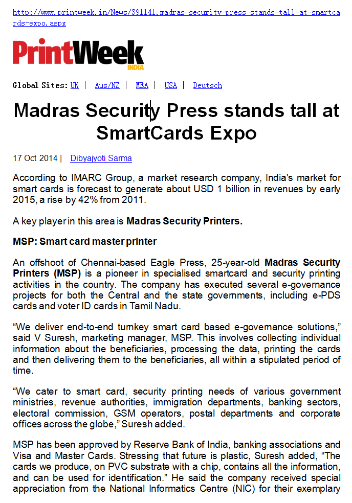 Madras Security Press stands tall at SmartCards Expo